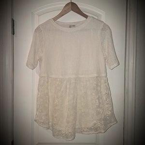 NWOT Cream Semi Sheer Empire Waist Shirt Sz Small